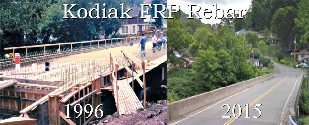 Kodiak Fiberglass Rebar, Reinforced the first Bridge in U.S. History (Mckinleyville Bridge, West Virginia 1996) Kodiak FRP Rebar was used in place of steel rebar