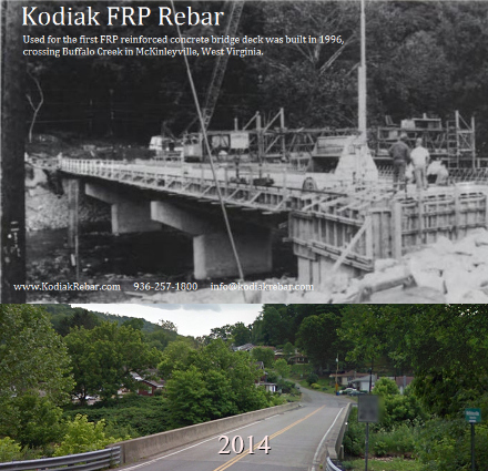 Kodiak Fiberglass Rebar, Used for the First FRP Reinforced Bridge in U.S. History (Mckinleyville Bridge over Buffalo Creek, West Virginia 1996)