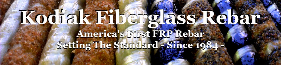 Fiberglass Rebar - Kodiak rebar is the United States OFRP Rebar Manufacturer, Made in The USA Since 1984. Fiberglass rebar (GFRP / Glass Fiber Reinforced Polymer) is the high strength, low weight, non-corrosive, and non-magnetic concrete reinforcement used in high quality concrete design. FRP rebar is used in concrete structures including; infrastructure highways, bridges, ports, sea walls, electrical power plants & transmission substations, FRP Rebar is used in Hospitals for MRI foundations as well as special faculties for magnetic or Radio frequent transparency. Kodiak GFRP is the precast reinforcement used by quality precast manufacturers for products that will last many time longer than those using epoxy coated or galvanized reinforcements.